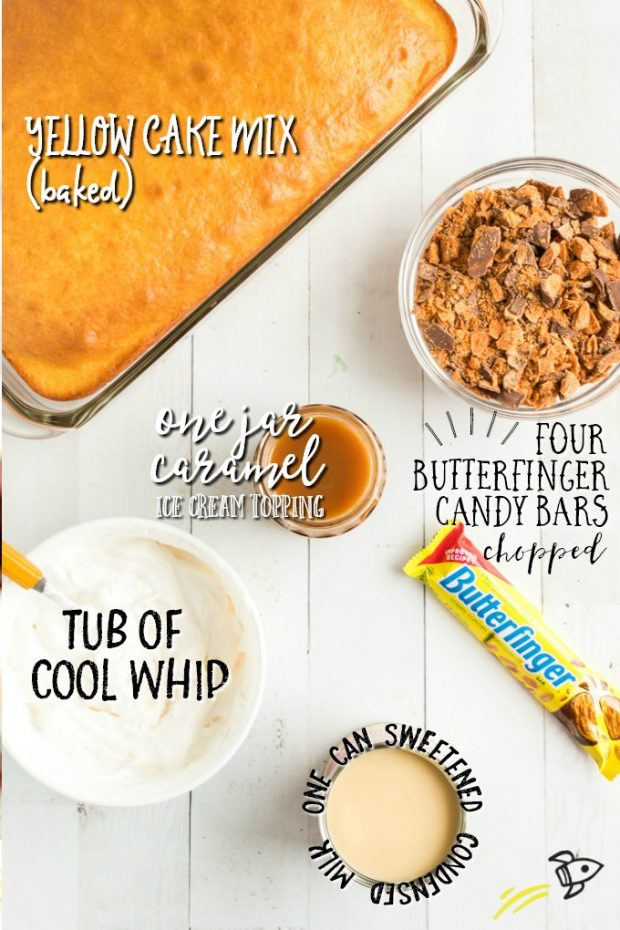 Ingredients for Butterfinger Cake labelled