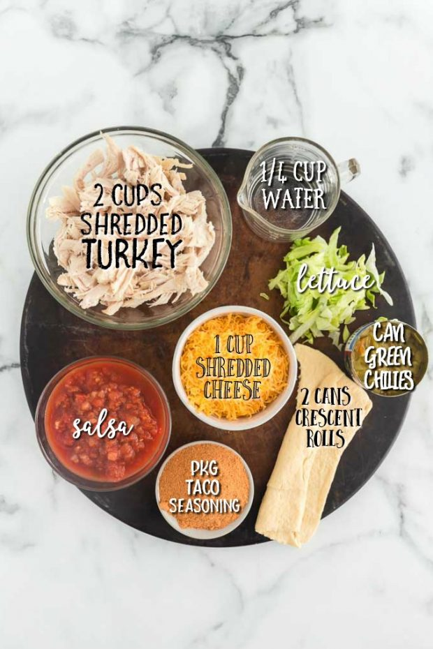 ingredients for turkey taco ring labelled