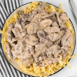 close up overhead shot of a bowl of Beef Stroganoff