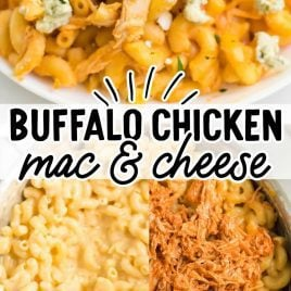close up shot of a serving of Buffalo Chicken Mac and Cheese garnished with parsley on a plate and close up overhead shot of buffalo chicken Mac and cheese being assembled in a skillet