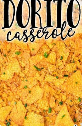 overhead shot of doritos casserole in a pan