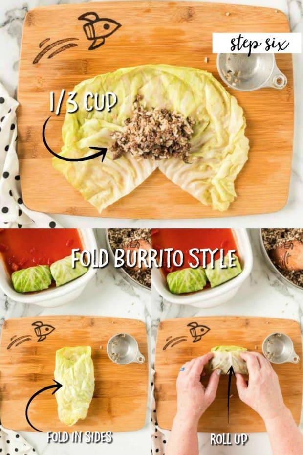 3 PHOTOS SHOWING HOW TO ROLL CABBAGE ROLLS LIKE A BURRITO