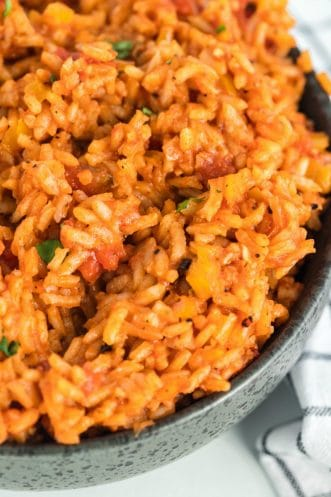 bowl with cooked Spanish rice