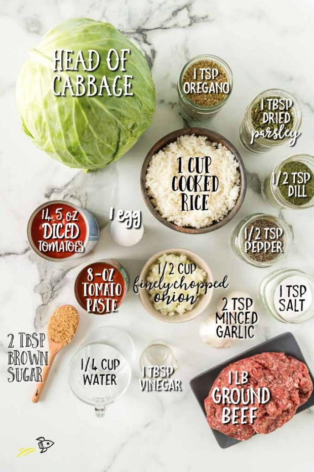 cabbage roll ingredients in individual bowls