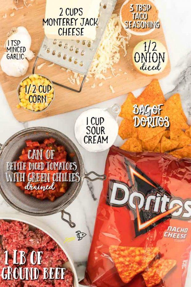 individual ingredients for Doritos casserole