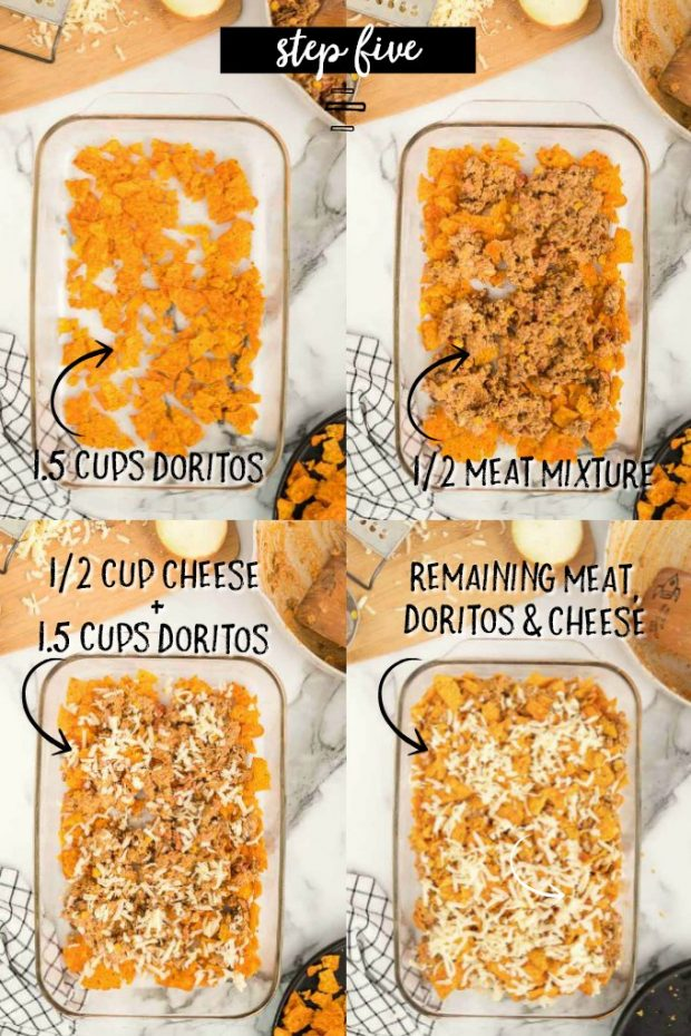A bunch of items that are rice and bread on a plate, with Casserole and DORITOS