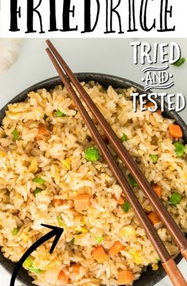 fried rice in bowl with chopsticks