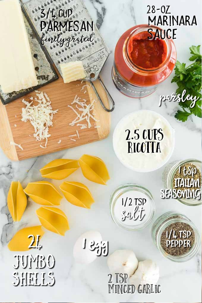 ingredients in bowls to make stuffed shell