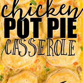 chicken pot pie casserole baked in dish