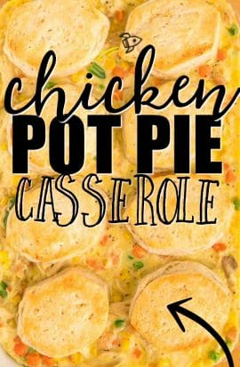 chicken pot pie casserole baked in dish