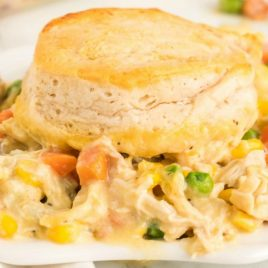 A close up of a plate of food, with Casserole and Chicken