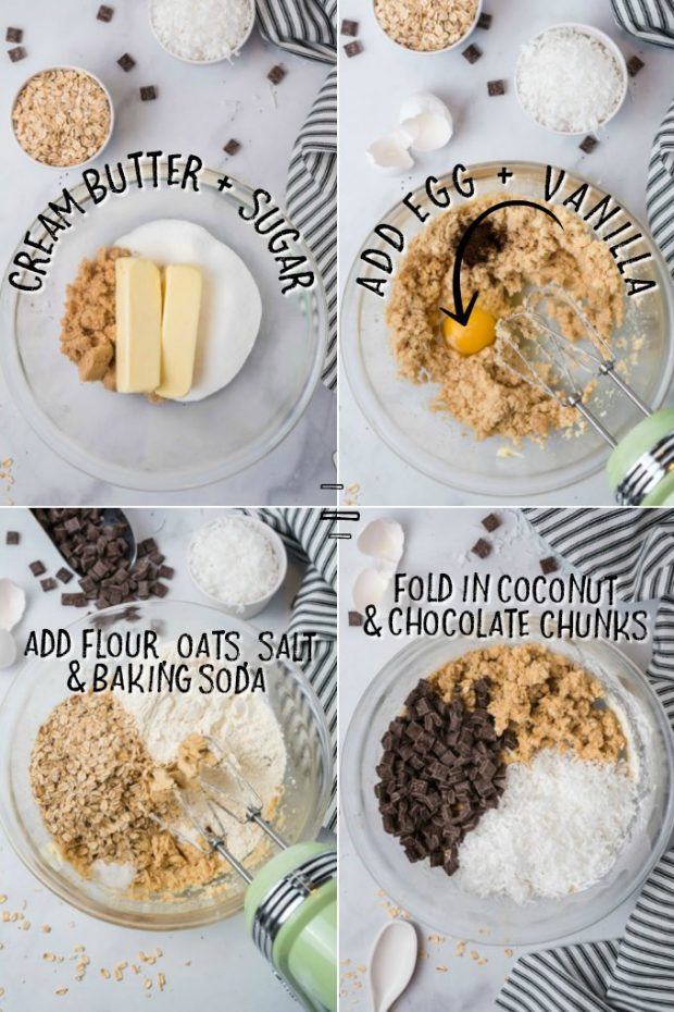 Four photos showing how to make oatmeal chocolate chunk cookie dough