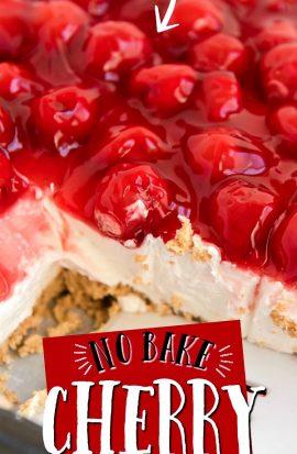 cherry cheesecake in casserole dish