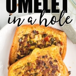 omelet in a hole on plate for breakfast