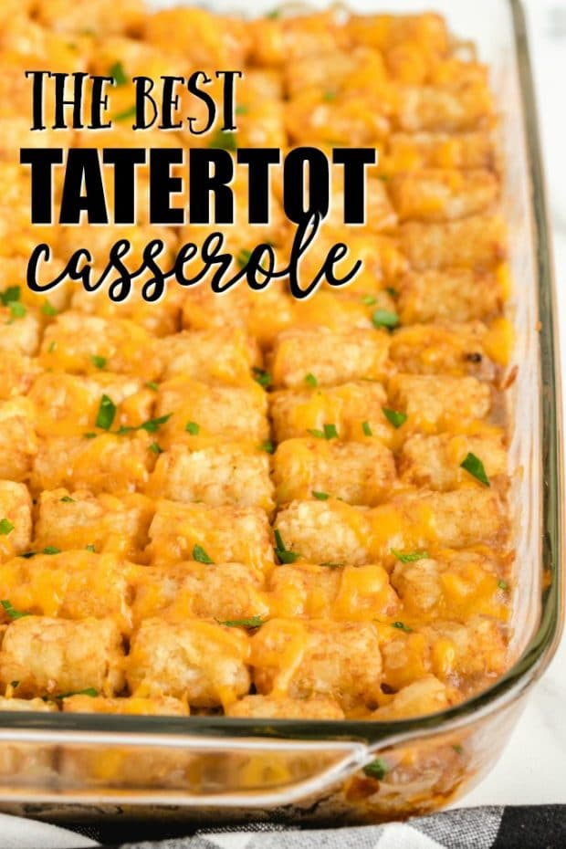 tatertot casserole in a glass casserole dish