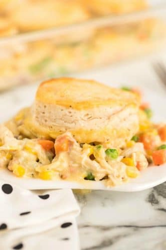chicken pot pie casserole on a plate