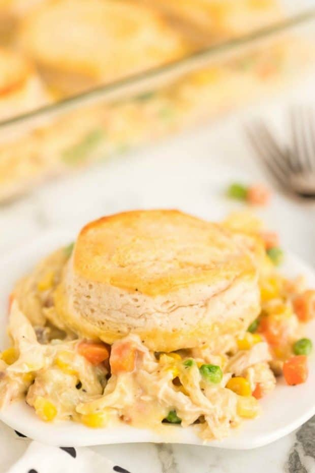 chicken pot pie casserole on a plate