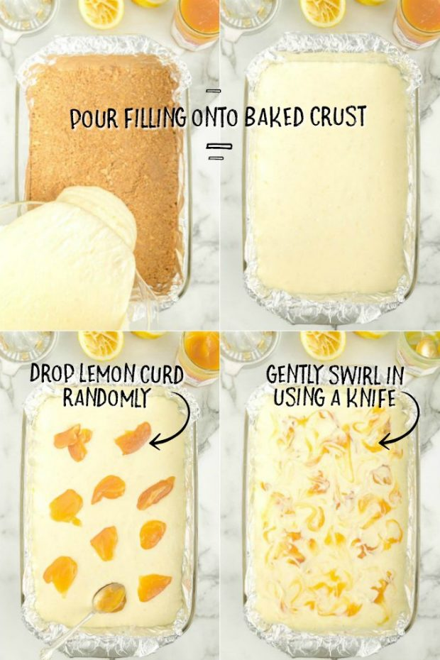 steps showing how to make lemon cheesecake bars in a 9x13 casserole dish