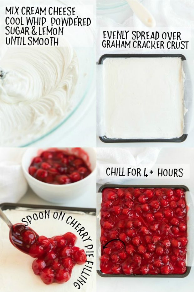 four photos showing how to make a no bake cherry cheesecake filling