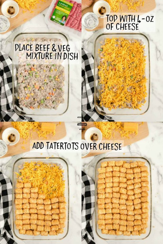 Four photos showing how to make tatertot casserole