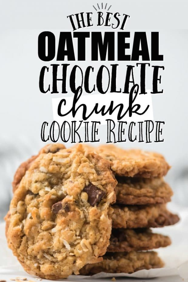 stack of oatmeal chocolate chunk cookies