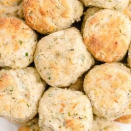 close up overhead shot of cheese and herb biscuits