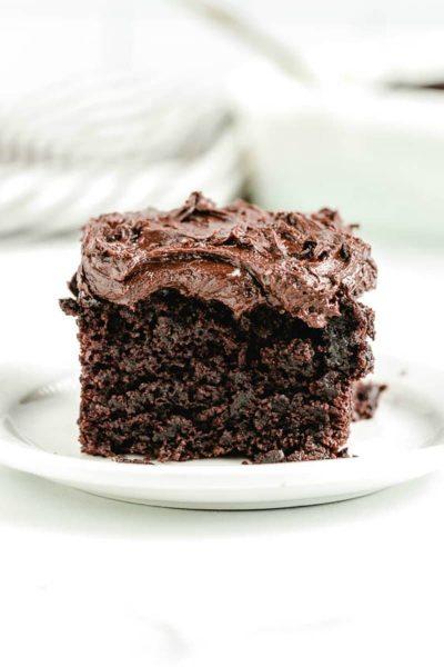 slice of chocolate crazy cake on white plate