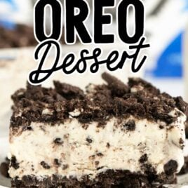 close up shot of a slice of Easy Frozen Oreo Dessert on a plate