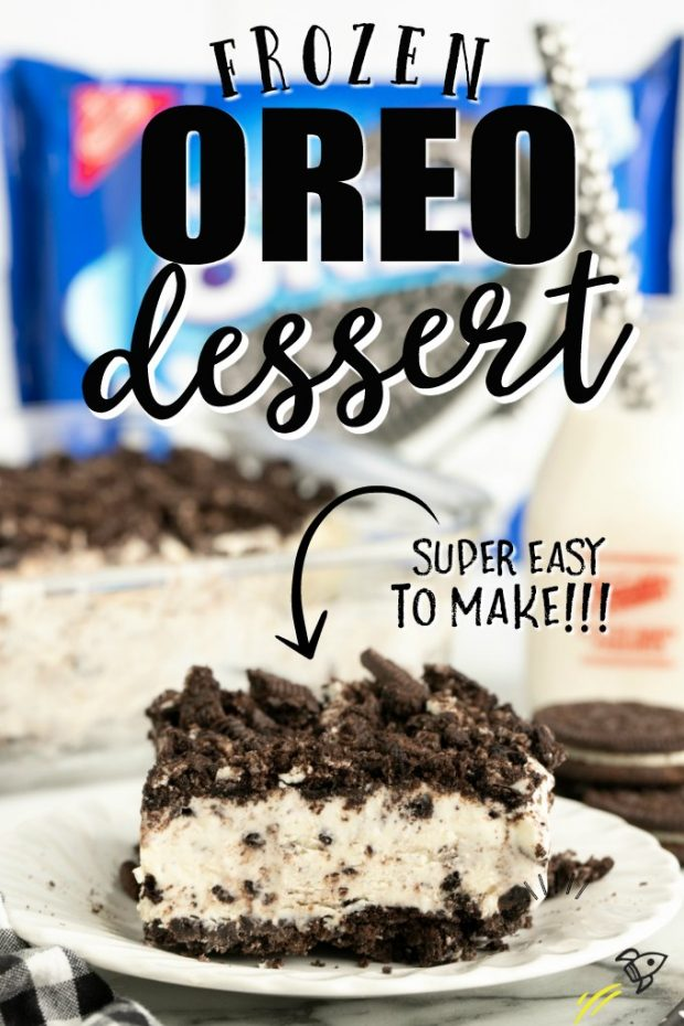 SLICE OF OREO DESSERT IN FRONT OF A BAG OF OREOS