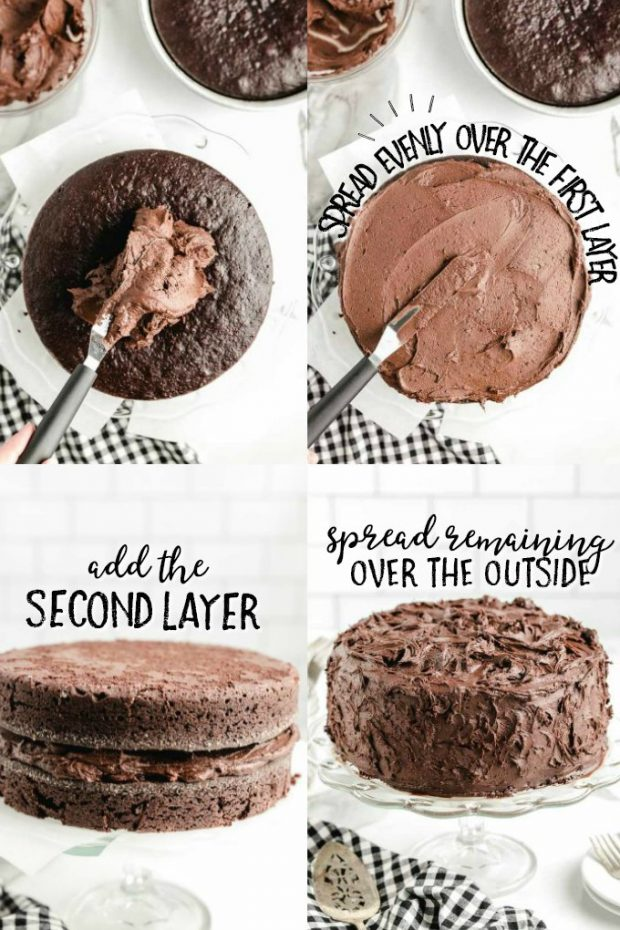 process step for icing a layered chocolate mayonnaise cake with chocolate frosting
