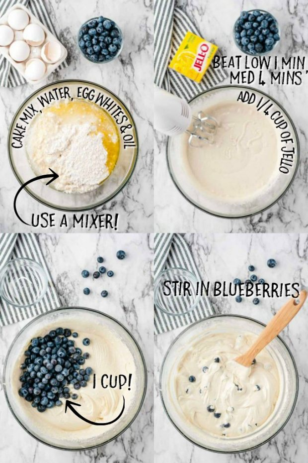 Four photos showing how to make lemon blueberry bread