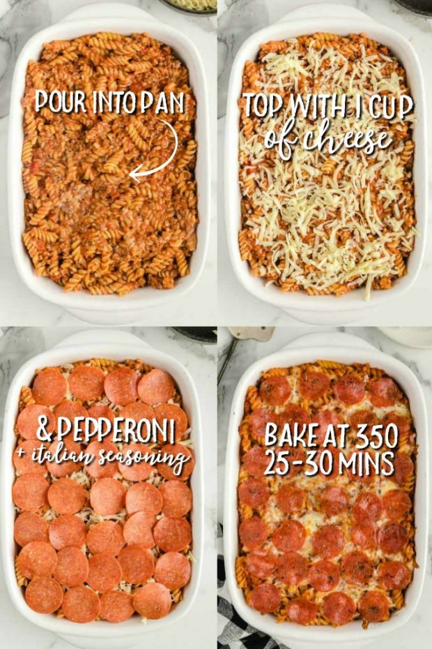 four photos showing how to make pizza casserole