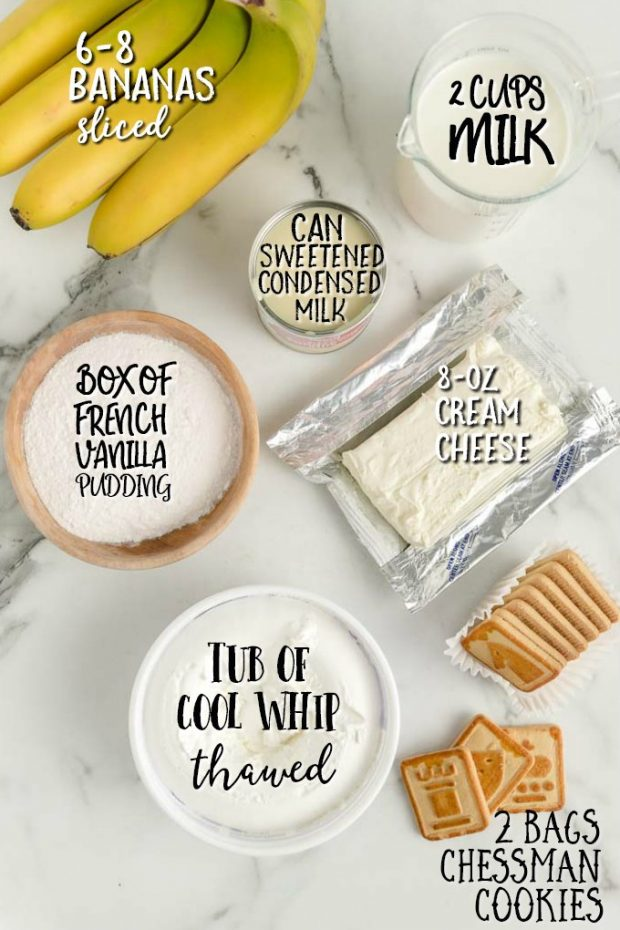 INGREDIENTS FOR CHESSMEN BANANA PUDDING, INDIVIDUALLY LABELLED