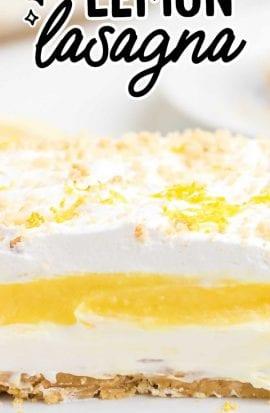 close up shot of a slice of lemon lasagna on a plate