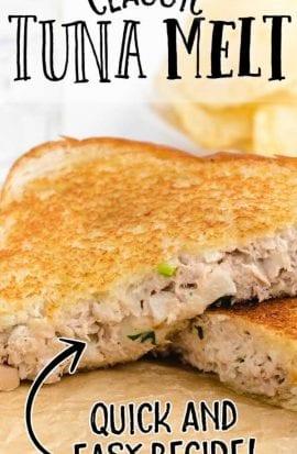 close up shot of tuna melt sandwiches sliced in half