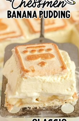 close up shot of a slice of chessmen banana pudding on a spatula