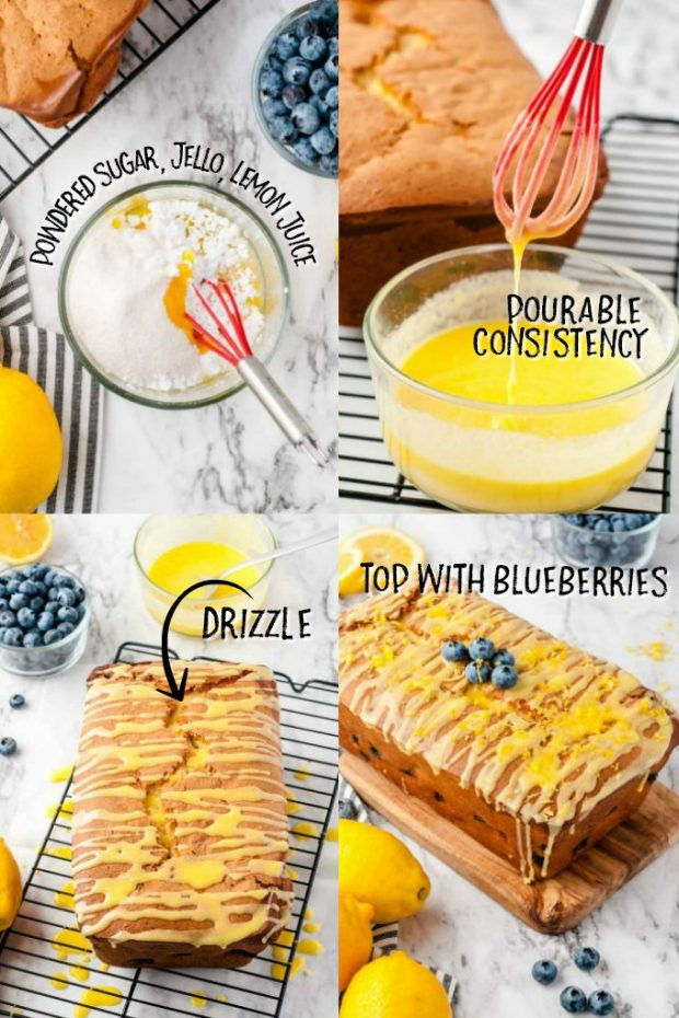 four photos showing how to make glaze for lemon blueberry bread