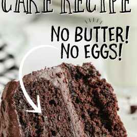 slice of chocolate mayonnaise cake with text the best mayonnaise cake recipe no butter no eggs
