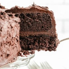 A piece of chocolate cake on a plate, with Mayonnaise