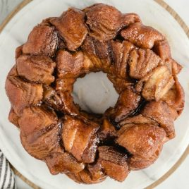 A plate full of food, with Monkey bread