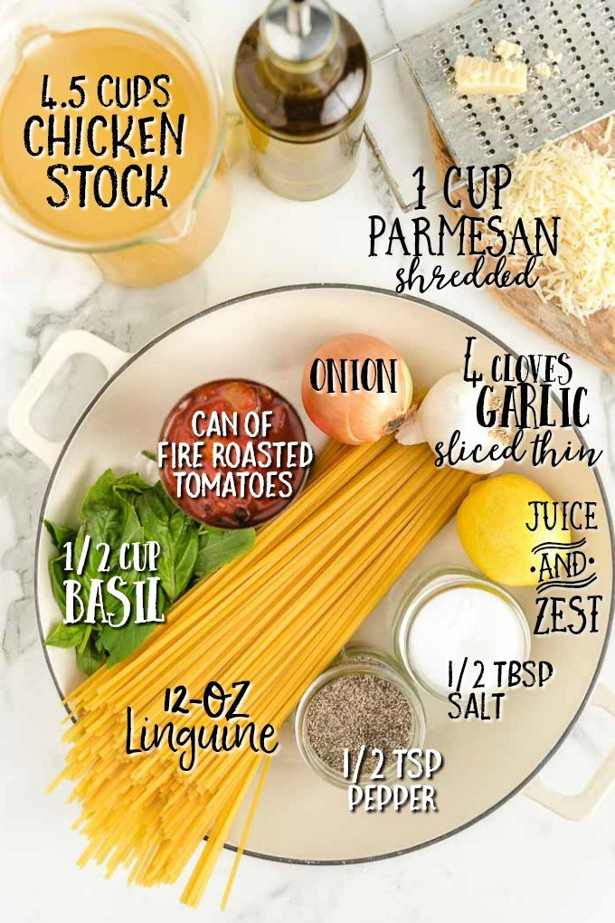 Food on a table, with Pasta and Minute