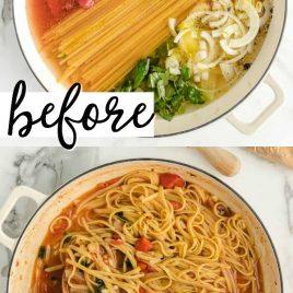 ingredients for pasta in pot