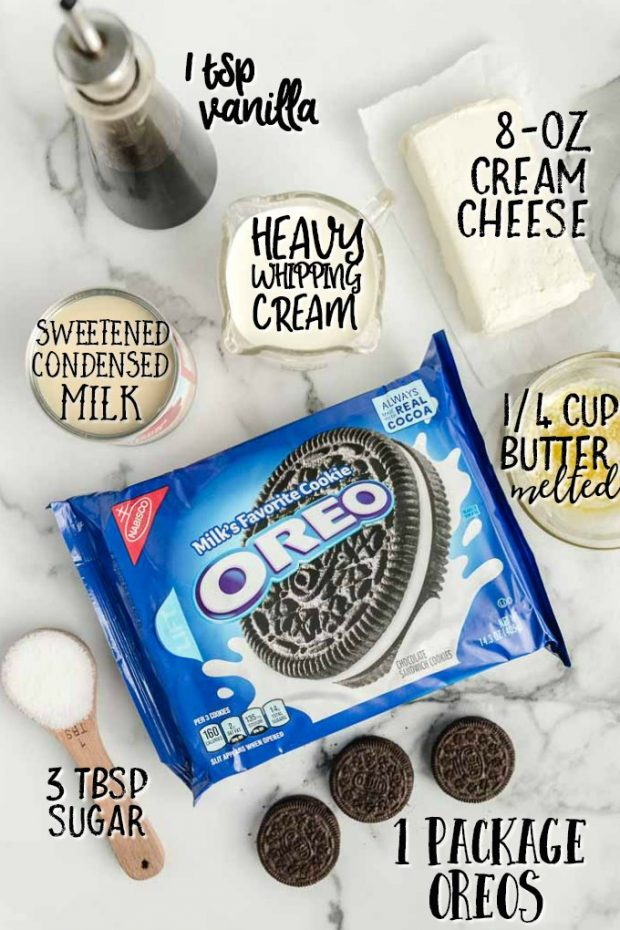 oreo dessert individual ingredients labeled