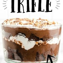 glass trifle bowl filled with chocolate trifle