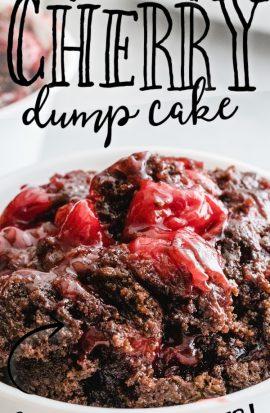 close up shot of chocolate cherry dump cake