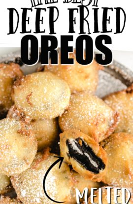 plateful of deep fried oreos with one broken open to reveal gooey inside