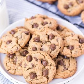 close up shot of a plate of Gluten-Free Chocolate Chip Cookies