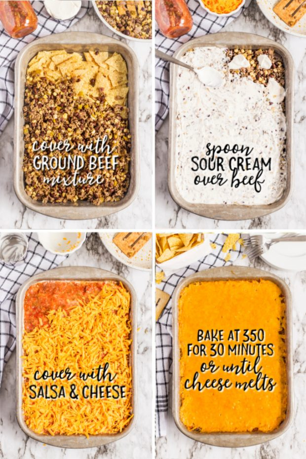 steps to make mexican casserole in grid format with directions