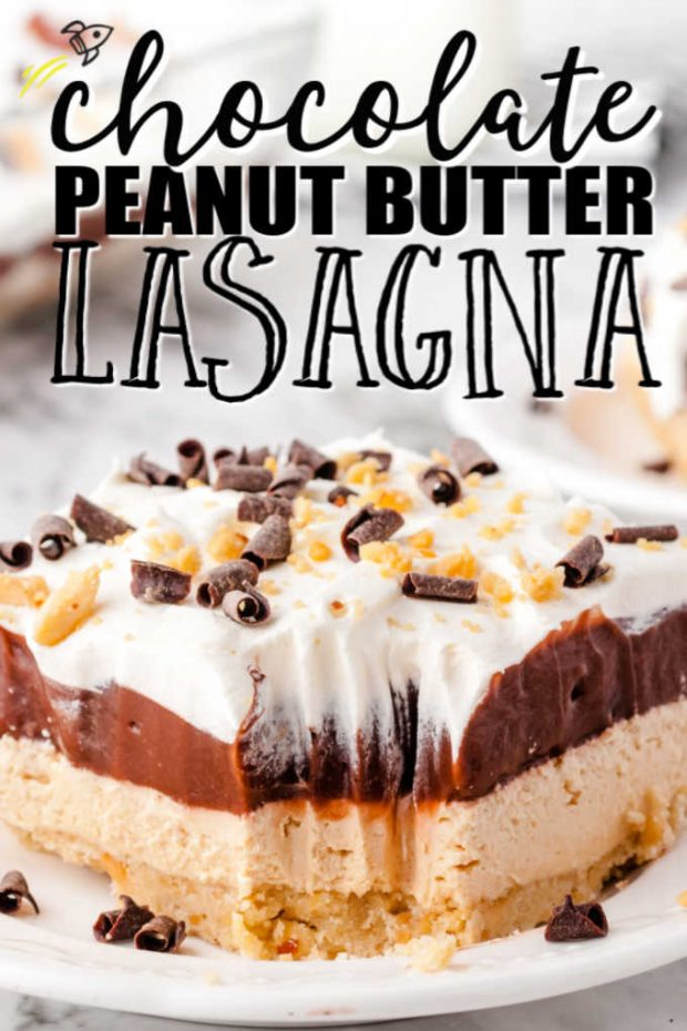 slice of chocolate peanut butter lasagna with a bite taken out