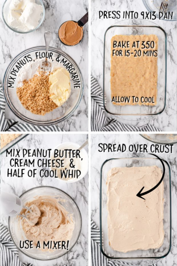 four visuals with the steps for making chocolate peanut butter lasagna